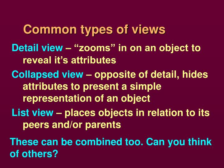 Common types of views