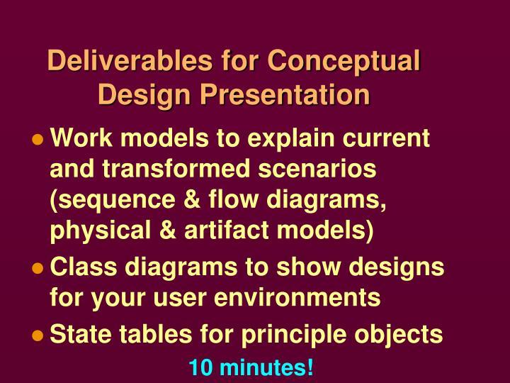 Deliverables for Conceptual Design Presentation