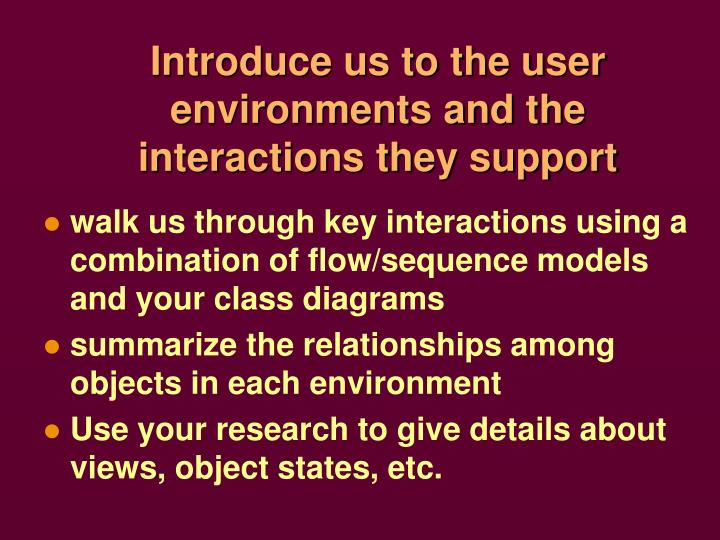 Introduce us to the user environments and the interactions they support