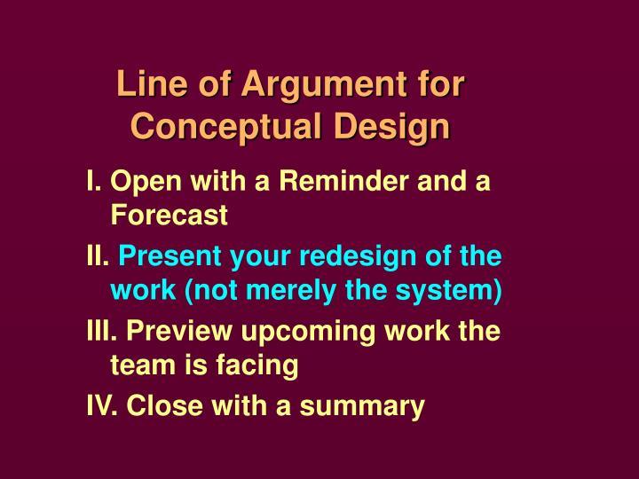 Line of Argument for Conceptual Design