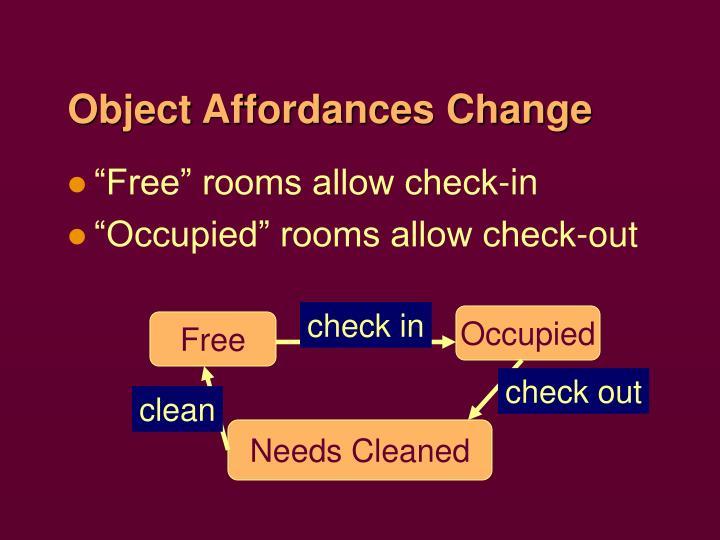 Object Affordances Change