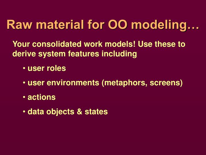 Raw material for oo modeling