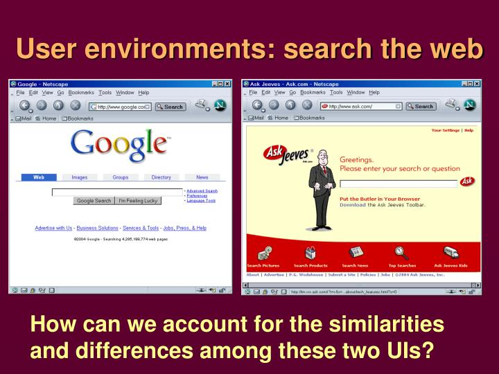 User environments: search the web