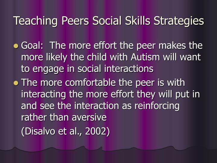 Teaching Peers Social Skills Strategies