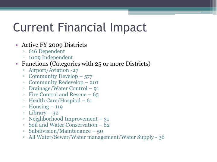 Current Financial Impact