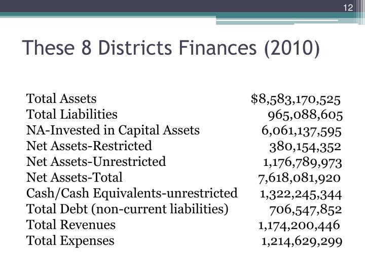 These 8 Districts Finances (2010)