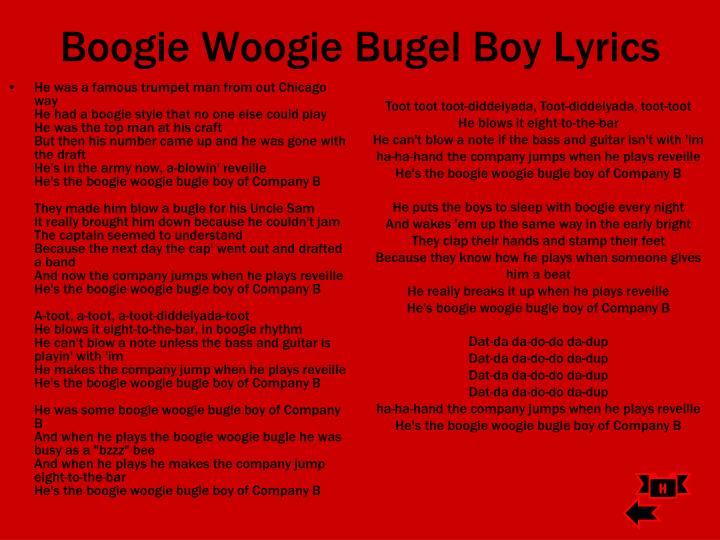 Boogie Woogie Bugel Boy Lyrics