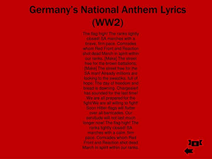 Germany's National Anthem Lyrics (WW2)