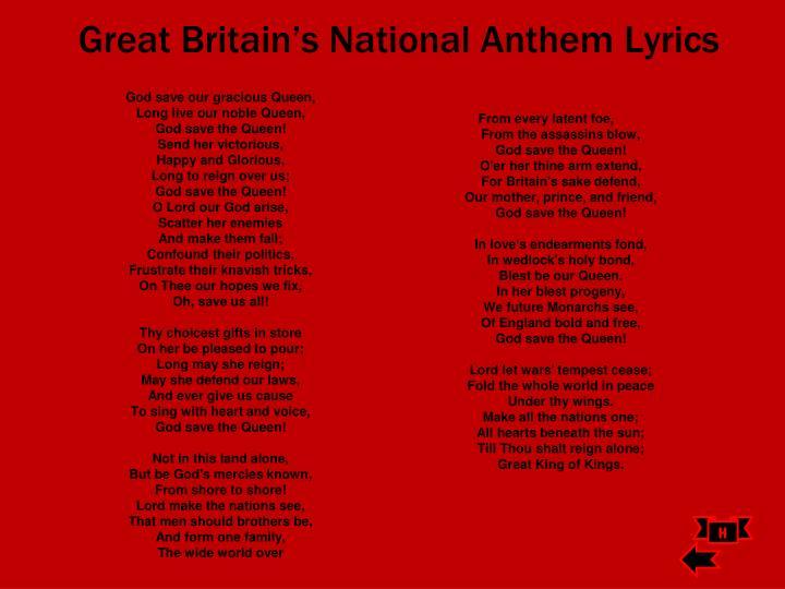 Great Britain's National Anthem Lyrics