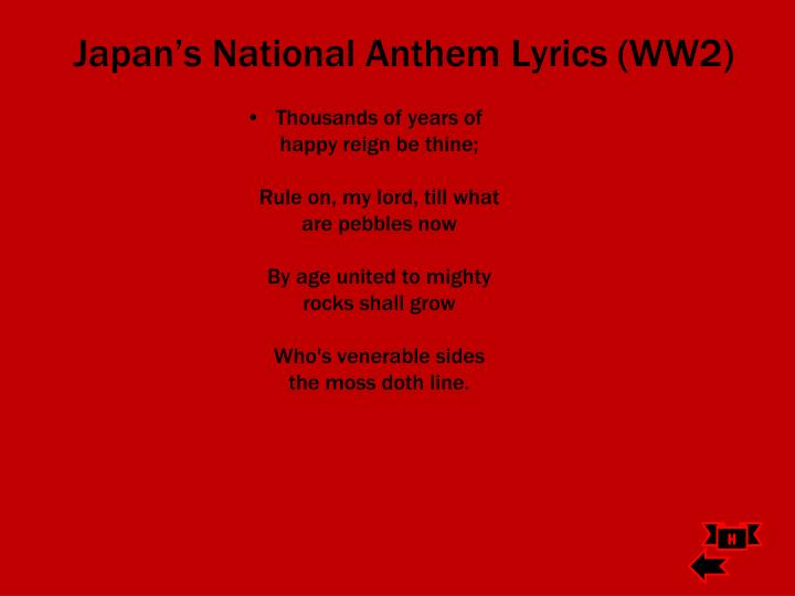 Japan's National Anthem Lyrics (WW2)