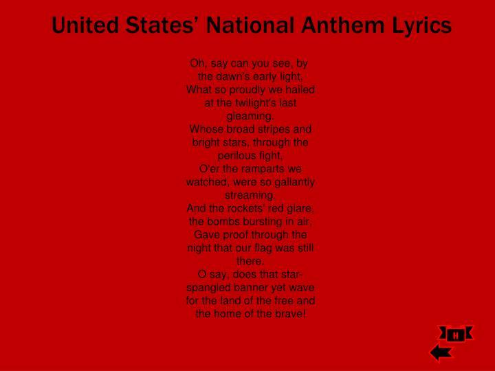 United States' National Anthem Lyrics