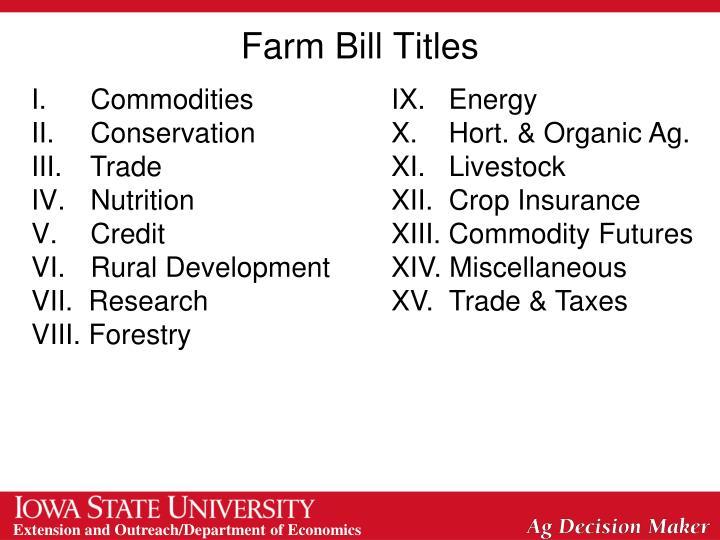 Farm bill titles