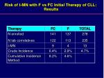 risk of t mn with f vs fc initial therapy of cll results