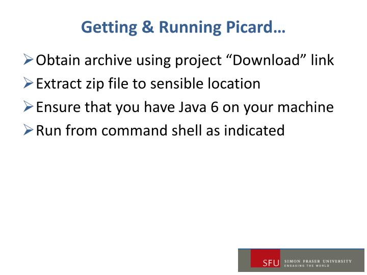 Getting & Running Picard…