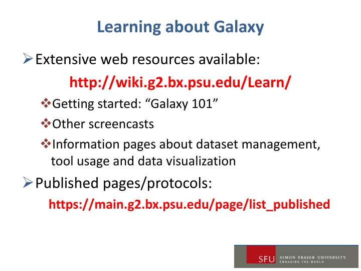 Learning about Galaxy