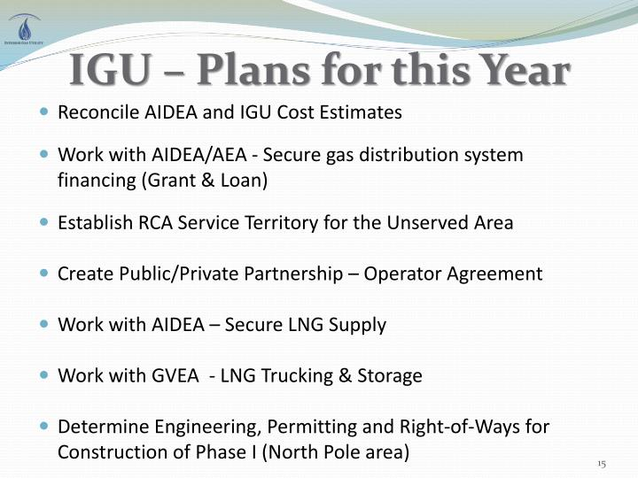 IGU – Plans for this Year