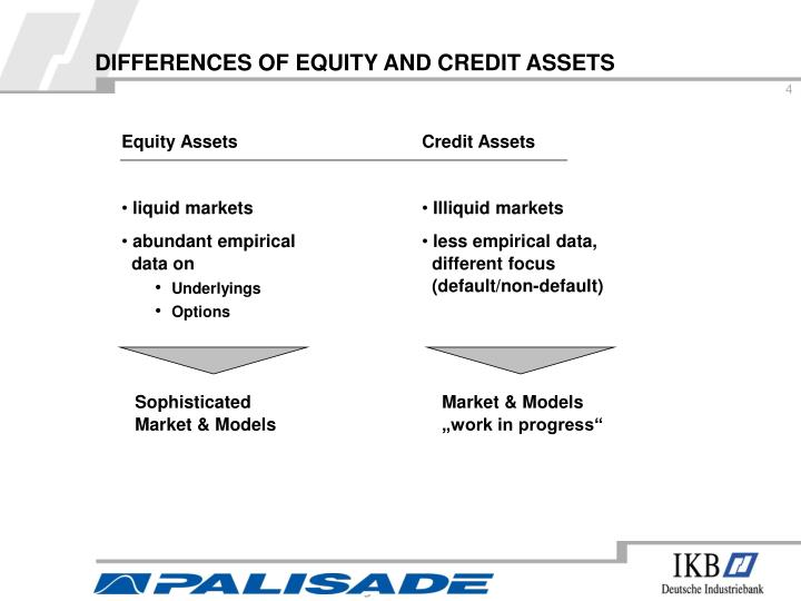 DIFFERENCES OF EQUITY AND CREDIT ASSETS