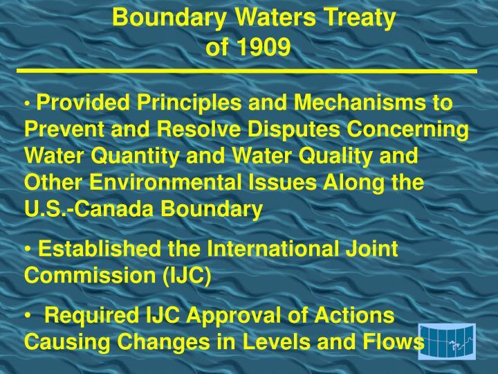Boundary waters treaty of 1909