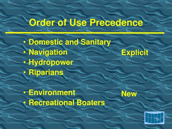 Order of Use Precedence
