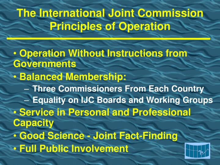 The international joint commission principles of operation