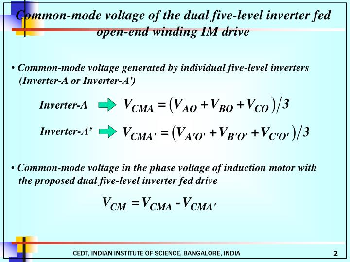 Common-mode voltage of the dual five-level inverter fed open-end winding IM drive