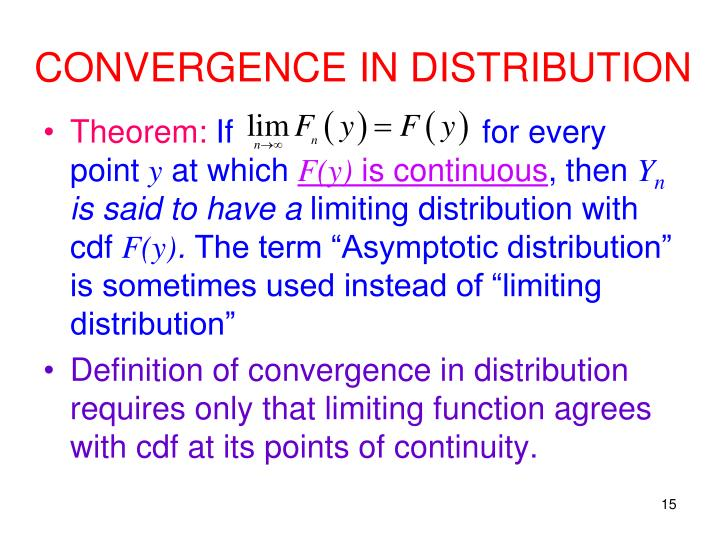 CONVERGENCE IN DISTRIBUTION