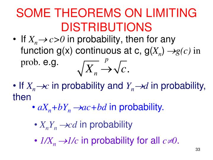 SOME THEOREMS ON LIMITING DISTRIBUTIONS