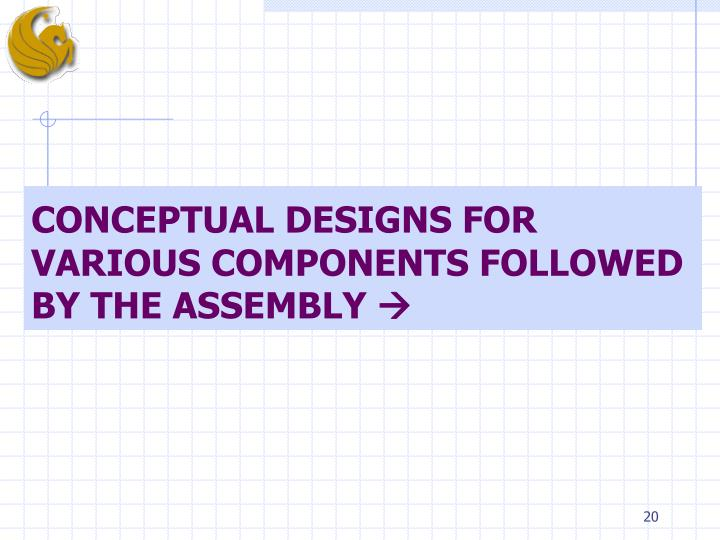 CONCEPTUAL DESIGNS FOR VARIOUS COMPONENTS FOLLOWED BY THE ASSEMBLY