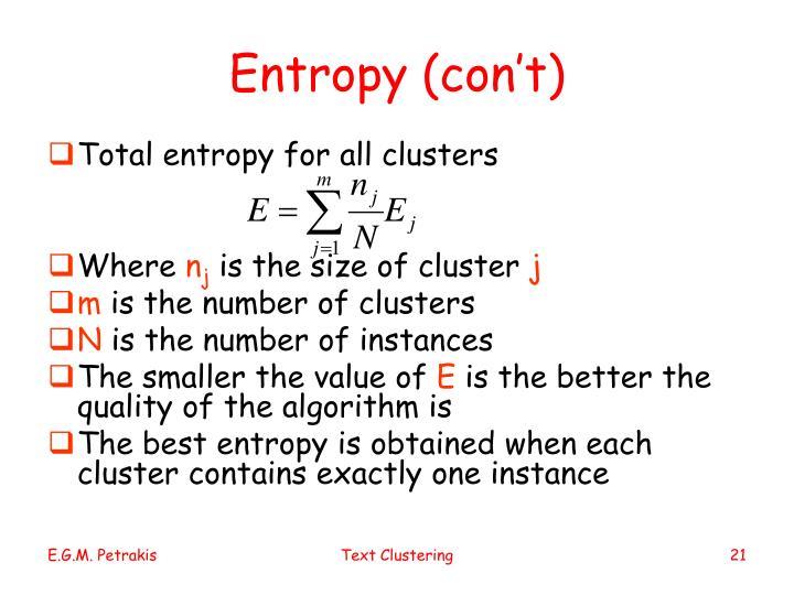 Entropy (con't)
