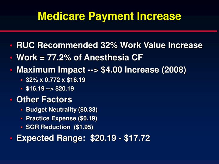 Medicare Payment Increase