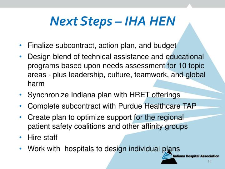 Next Steps – IHA HEN