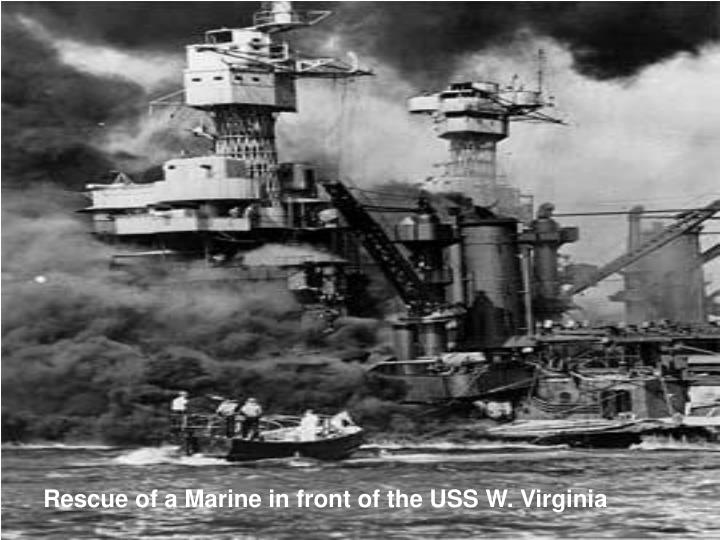 Rescue of a Marine in front of the USS W. Virginia