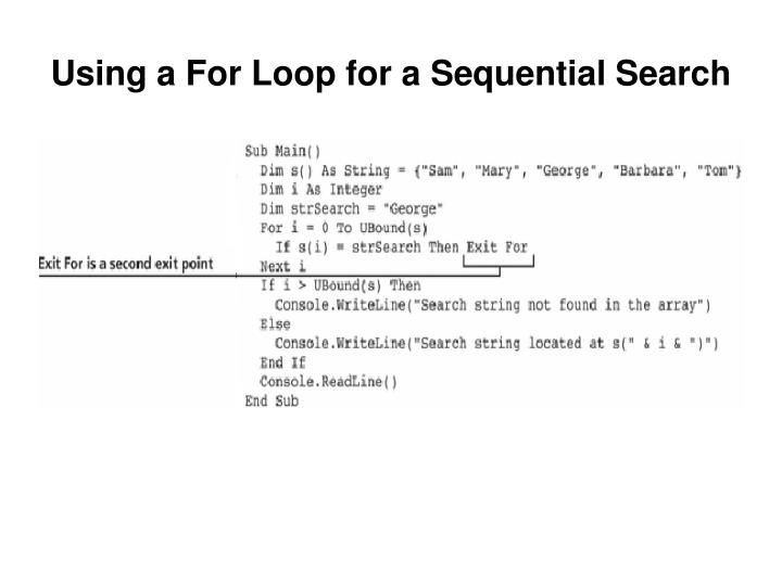 Using a For Loop for a Sequential Search