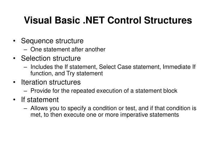 Visual Basic .NET Control Structures