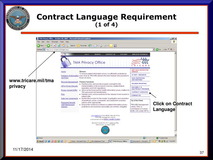 Contract Language Requirement