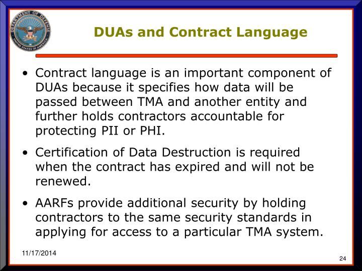 DUAs and Contract Language
