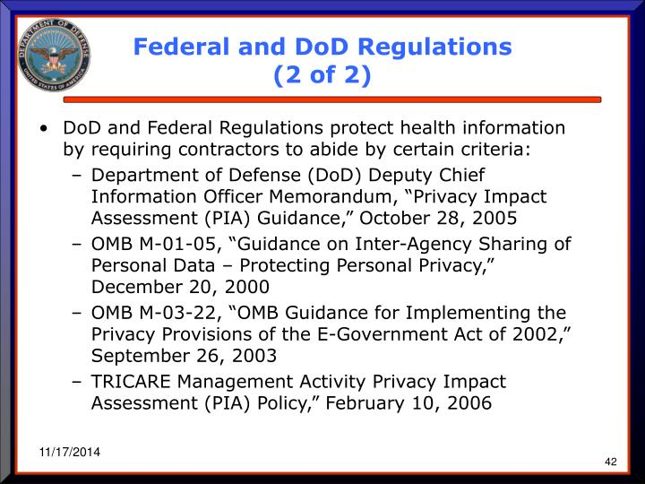 Federal and DoD Regulations