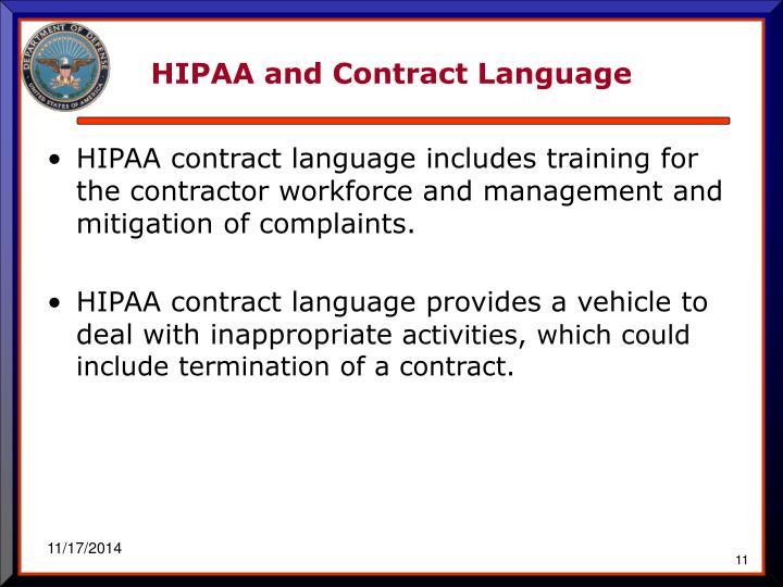 HIPAA and Contract Language