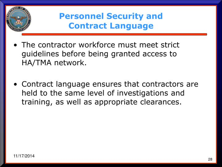 Personnel Security and