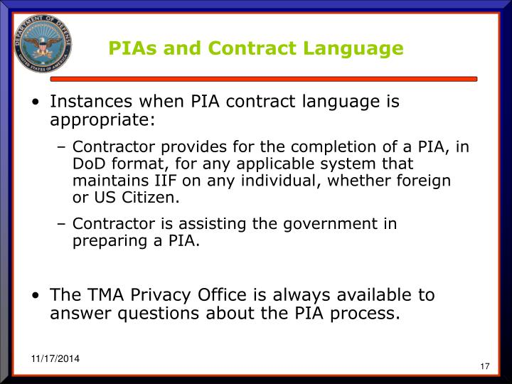 PIAs and Contract Language