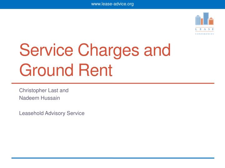 service charges and ground rent n.