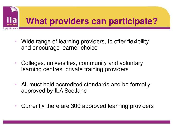 What providers can participate?