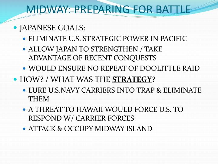 MIDWAY: PREPARING FOR BATTLE