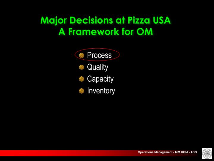 Major Decisions at Pizza USA