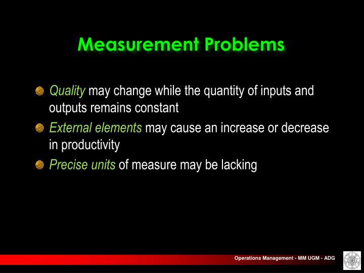 Measurement Problems