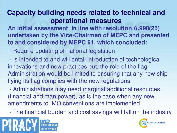 Capacity building needs related to technical and operational measures