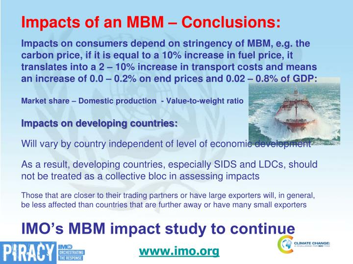 Impacts of an MBM – Conclusions: