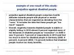 example of one result of this study prejudice against disabled people