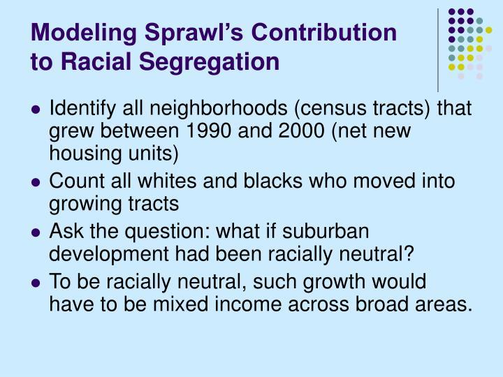Modeling Sprawl's Contribution to Racial Segregation