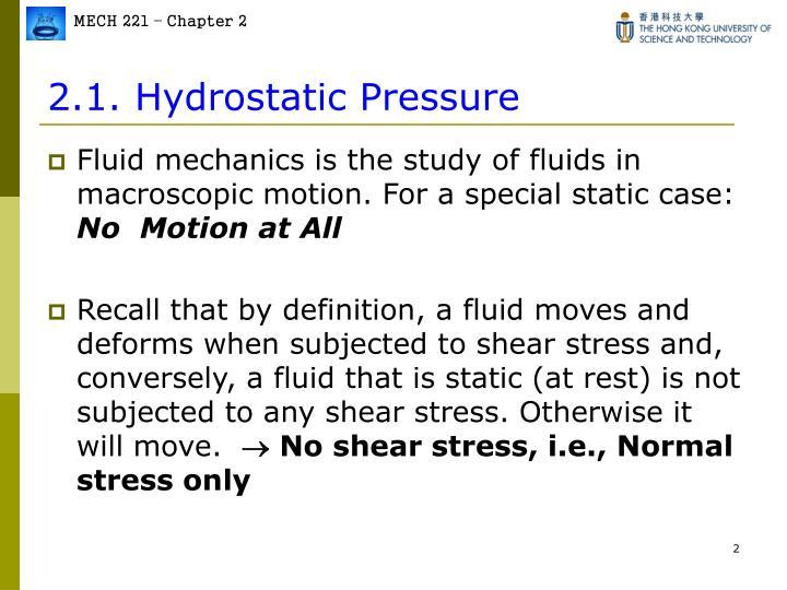 2 1 hydrostatic pressure